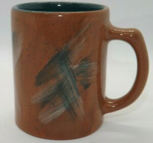 Vintage Frankoma Brown & Teal Green Coffee Mug USA Pottery Cup