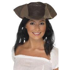 Unisex con aspecto de cuero Sombrero De Pirata Y Cabello Vestido De Caribe Jack Sparrow señoras