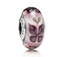 Authentic Pandora Sterling Silver Murano Pink Butterfly Kisses Bead 701621