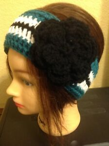 Green White Black Headband Women Teens Ear Warmer Handmade Crochet Flower NEW PA