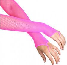 NEON PINK FISHNET ARM WARMERS DISCO RAVE FANCY DRESS ACCESSORIES - LEG AVENUE