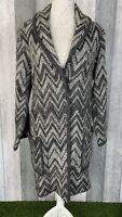Phase Eight Grey Cotton Wool Blend Chevron Pocket Longline Cardigan Size 14
