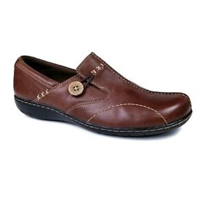 Clarks Bendables Sixty Delta Brown Leather Slip On Loafers Flats Womens 9.5 M