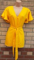 RIVER ISLAND YELLOW SHORT SLEEVE V NECK SPLITS SIDES BELTED LONG TOP BLOUSE 12 M