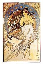 """Alphonse Mucha 1976 Authentic VINTAGE art nouveau stampa """"La Musique PIASTRA"""" Libro"""