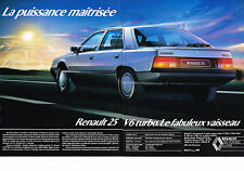 PUBLICITE ADVERTISING 1985  RENAULT 25 V6 TURBO   (2 pages)