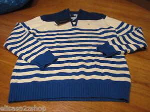 Boy's L 16/18 youth Royal 427 stripe Tommy Hilfiger sweater long sleeve $49.50