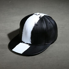 ByTheR Men's Fashion White Vertical Line Paint Custom Made Leather Snapback