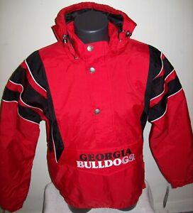 GEORGIA BULLDOGS STARTER 1/2 ZIP Winter Jacket Removable Hoody RED S M L XL 2X