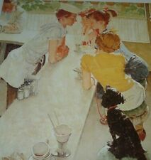"Goofy Looking ""THE SODA JERK"" PETER Norman Rockwell 's (Son) 3 Young Ladies Dog"