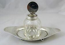 Vintage c 1919 Hallmarked Silver Inkwell & Stand By John Grinsell & Sons VGC
