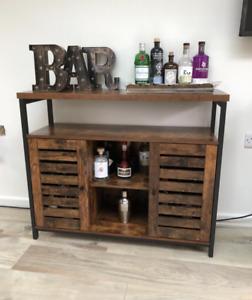 Large Storage Sideboard Vintage Industrial Cabinet Narrow Wooden Cupboard Unit