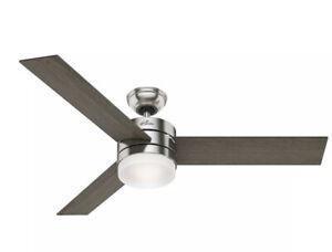 """Hunter Exeter 54 LED Exeter 54"""" Ceiling Fan - Nickel"""