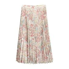 Womens Pink Multicolor Floral Oil Painting Chiffon Pleated Maxi Skirt Size S