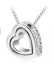 925 Sterling Silver HEART Austrian  Crystals Pendant Charm Necklace Jewelry