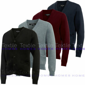 Mens Plain Knitted Cardigan Classic Button V Neck Knitted Cardigans Fine Knit