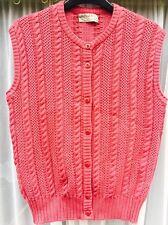 "JAEGER Vintage Ladies Knitted Sleeveless Waistcoat Cardigan Raspberry Pink 36"" M"