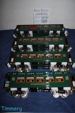 MTH Tinplate 10-5011 4-Car Standard Gauge 418 Set Dark Green w/Brass Trim MIB**
