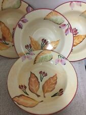 """Set Of 4 Home Trends 8"""" Round Glass Soup Salad Cereal Bowls Fruit Pattern Italy"""