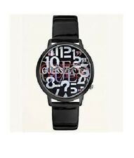 NEW GUESS BLACK PATENT LEATHER BAND, LOGO FACE WATCH-U75055L1