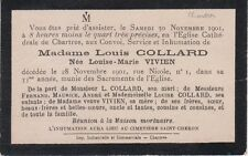1901 Faire-part décès Mme Louis COLLARD née Louise-Marie VIVIEN - Chartres.