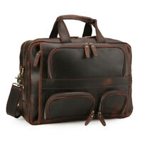 """Men's Leather 15.6""""Laptop Briefcase Shoulder Bag Travel Hold on Trolley Handbag"""