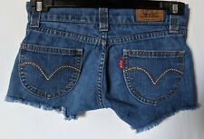 "WOMEN'S SHORTS LEVI'S MINI DISTRESSED STRETCH SIZE 10/28"" LIKE NEW FREE POSTAGE"