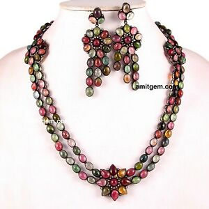925 Fine Silver Natural Multi Tourmaline Flower Earring Necklace Set Ns-22