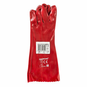 Abrasion Resistant, Grease & Oil Repellent Red PVC Gauntlets Size L 10 16inch