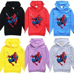 UK Kids Boys Girls Spider-Man Hooded T-shirt Sweatshirt Jumper Hoodie Size 2-14