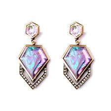 Geovista Post Drop Earrings Brand Colorful Geometric Facets Organic Rock Amethy