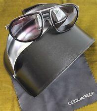 DSQUARED2 DQ 0025 01A  57 16 135 Aviator Black & Silver Sunglasses Case & Cloth