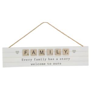 1pce 35cm White Hanging Family Inspirational Plaque Story Natural Boho