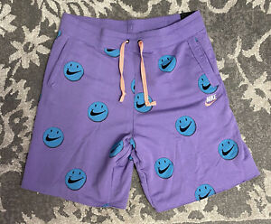 Nike Have A Nike Day Smiley Face All Over Print Shorts Purple Mens Sz Large NEW!