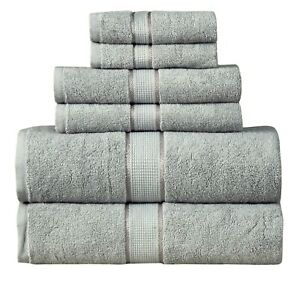 SPA - Hotel Collection 100% Cotton Bath Towels Soft 600 GSM 6 Pack Set - SILVER