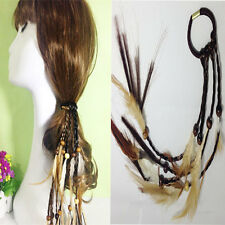 Feather Ponytail Holder Pearl Beads Suede Elastic Hair Tie Rope Band Ring Hippie