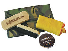 Army Combat Military Boot Care Cleaning Black Shoe Polish Brush Travel Kit DPM