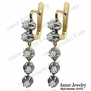 Russian Vintage Style diamond dangling Earrings 14k Yellow white gold 1.20 CWT