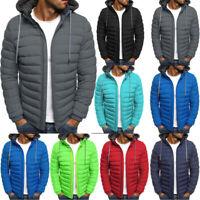 Men Winter Zipper Warm Down Hooded Jacket Packable Light Puffer Top Coat Outwear