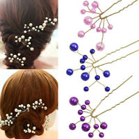 KQ_ FP- Fashion Wedding Bridal Bridesmaid Faux Pearls Hair Pins Clips Comb Headw