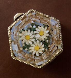 Vintage Micro Mosaic Daisy Pill Box