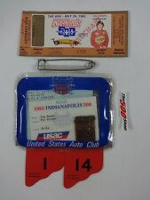 1985 Indianapolis 500 Bronze Pit Badge & Ticket Tom Soyrs Timing and Scoring