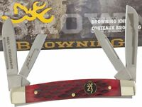 Browning Red Pick Bone Congress Pocket Knife BR184 4Folding Blades