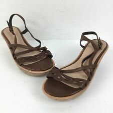 Camper Damas Womens Sz 36 EUR 6 US Brown Leather Ankle Strap Wedge Sandals
