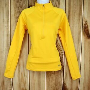 Under Armour Jacket 1/2 Zip Pullover Womens Size S Yellow Loose Fit Cold Gear