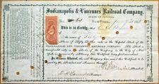 1869 AMBROSE BURNSIDE Autograph/Signed Railroad Stock Certificate-Indy/Vincennes
