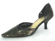 Naturalizer Shoes 7N Pointy Toe D'Orsay Pumps Gold Black Kitten Heel Snake Print