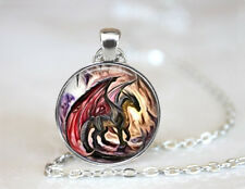 Red Dragon in a Cave Tibetan silver Dome Glass Art Chain Pendant Necklace