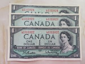 1954 $1 Bank of Canada Notes # Pieces Consecutive LM prefix and FREE shipping