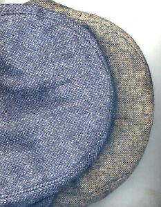 Men Ivy Cap Wool Tweed Hidden Fur Ear Flaps Size M Brown or Steel Gray 280E